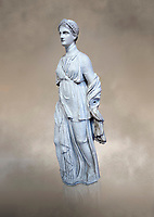 Statue of Artemis, found at the 'House of Diadoumenos' on Delos. Pariam marble, Circa 100 BC. Athens Archaeological Museum, Cat No 1829.<br /> <br /> Artemis wears a chiton, a girt and himation. The diagonal strap ocross her breast will have held the quiver full of arrows. The Goddess's beauty is stressed by her elaborate coiffure.