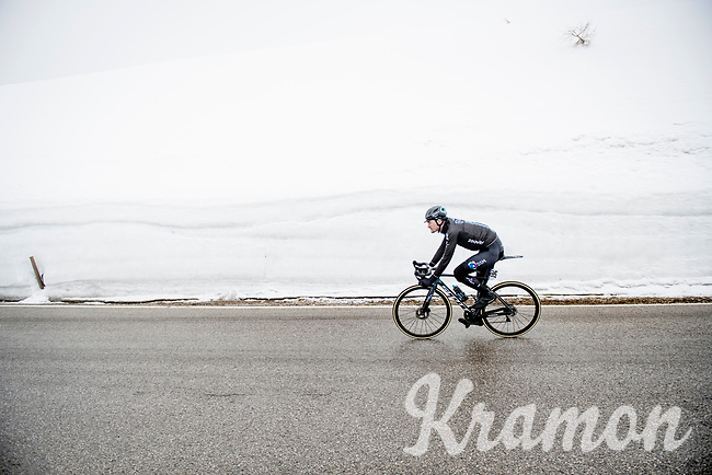 Nico Denz (DEU/DSM) coming over the Passo Giau<br /> <br /> due to the bad weather conditions the stage was shortened (on the raceday) to 153km and the Passo Giau became this years Cima Coppi (highest point of the Giro).<br /> <br /> 104th Giro d'Italia 2021 (2.UWT)<br /> Stage 16 from Sacile to Cortina d'Ampezzo (shortened from 212km to 153km)<br /> <br /> ©kramon