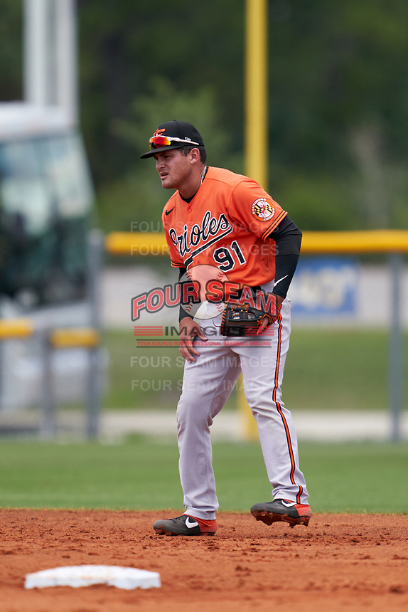 Baltimore Orioles shortstop Joseph Ortiz (91) during a Minor League Spring Training game against the Tampa Bay Rays on April 23, 2021 at Charlotte Sports Park in Port Charlotte, Florida.  (Mike Janes/Four Seam Images)