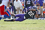 TCU Horned Frogs running back Aaron Green (22) in action during the game between the Kansas Jayhawks and the TCU Horned Frogs  at the Amon G. Carter Stadium in Fort Worth, Texas. TCU defeats Kansas 27 to 17.