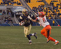 Pitt running back James Conner. The Pitt Panthers defeated the Syracuse Orange 76-61 at Heinz Field in Pittsburgh, Pennsylvania on November 26, 2016.