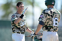 Slippery Rock outfielder Jake Weibley (6) during a game against Kentucky Wesleyan College at Jack Russell Stadium on March 14, 2014 in Clearwater, Florida.  Slippery Rock defeated Kentucky Wesleyan 18-13.  (Mike Janes/Four Seam Images)
