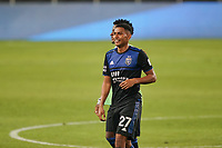 SAN JOSE, CA - OCTOBER 03: Marcos Lopez #27 of the San Jose Earthquakes celerates during a game between Los Angeles Galaxy and San Jose Earthquakes at Earthquakes Stadium on October 03, 2020 in San Jose, California.