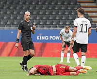 Referee Michael Fabbri cautions the German player for the faul made on Belgium's  Zinho Verheusden (3) during a soccer game between the national teams Under21 Youth teams of Belgium and Germany on the 5th matday in group 9 for the qualification for the Under 21 EURO 2021 , on tuesday 8 th of September 2020  in Leuven , Belgium . PHOTO SPORTPIX.BE | SPP | SEVIL OKTEM