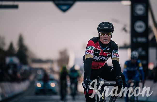 Winner of the previous 2 editions Greg Van Avermaet (BEL/BMC) crossing the finish line in 50th position<br /> <br /> Omloop Het Nieuwsblad 2018<br /> Gent › Meerbeke: 196km (BELGIUM)