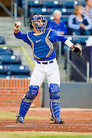 Duke Blue Devils catcher Mike Rosenfeld #15 throws the ball back to his pitcher during the game against the Virginia Cavaliers at Durham Bulls Athletic Park on April 20, 2012 in Durham, North Carolina.  The Blue Devils defeated the Cavaliers 6-3.  (Brian Westerholt/Four Seam Images)
