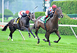 Brilliant Speed (no. 5), ridden by John Velazquez and trained by Thomas Albertrani, wins the 104th running of the grade 3 Saranac Stakes for three year olds on September 4, 2011 at Saratoga Race Track in Saratoga Springs, New York.  (Bob Mayberger/Eclipse Sportswire)