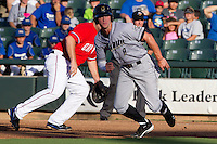 Omaha Storm Chasers outfielder Wil Myers #8 leads off of first base during the first inning of the Pacific Coast League baseball game against the Round Rock Express on July 20, 2012 at the Dell Diamond in Round Rock, Texas. The Chasers defeated the Express 10-4. (Andrew Woolley/Four Seam Images).