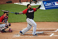 Texas Rangers Prince Fielder during the MLB Home Run Derby on July 13, 2015 at Great American Ball Park in Cincinnati, Ohio.  (Mike Janes/Four Seam Images)