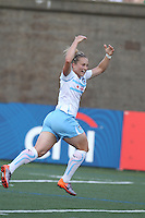Ella Masar celebrates after her first of two goals in 2-1 against the Boston Breakers