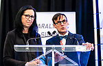 COC's Tricia Smith and CPC Marc-André Fabien during the CPC Paralympic Summit 2018 at the Palliser Hotel in Calgary, Alberta on November 15, 2018.