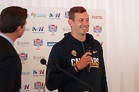 SYDNEY, AUSTRALIA - August 23, 2016:  Cal Bears Football team Australia trip.  Davis Webb addresses the media during the Sydney Cup press conference.