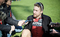 Taylor Phinney (USA/BMC) is interviewed after finishing in the Roubaix velodrome post-race (commentating on his still coming back from his 2014 career-threatening injuries)<br /> <br /> 114th Paris-Roubaix 2016