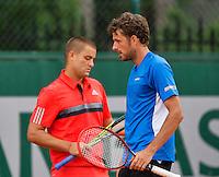 France, Paris , May 26, 2015, Tennis, Roland Garros, Doubles Haase/Youzhny(L)<br /> Photo: Tennisimages/Henk Koster