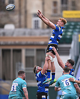 20th March 2021; Recreation Ground, Bath, Somerset, England; English Premiership Rugby, Bath versus Worcester Warriors; Miles Reid of Bath wins the lineout ball