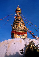 Swayambhunath Buddhist Stupa with prayer flag Kathmandu Nepal.