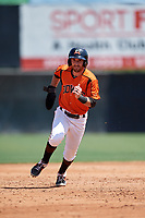 Bowie Baysox Mason McCoy (5) running the bases during an Eastern League game against the Binghamton Rumble Ponies on August 21, 2019 at Prince George's Stadium in Bowie, Maryland.  Bowie defeated Binghamton 7-6 in ten innings.  (Mike Janes/Four Seam Images)