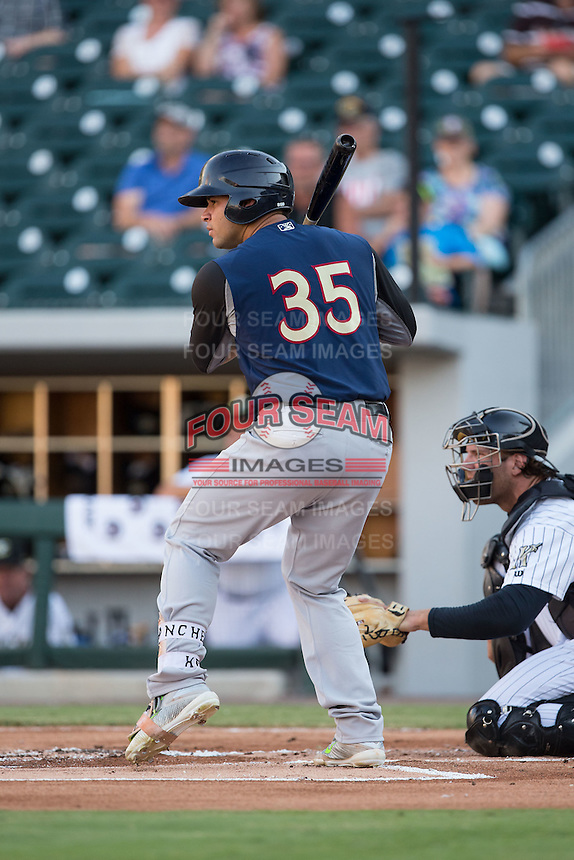 Gary Sanchez (35) of the Scranton/Wilkes-Barre RailRiders at bat against the Charlotte Knights at BB&T BallPark on July 20, 2016 in Charlotte, North Carolina.  The RailRiders defeated the Knights 14-2.  (Brian Westerholt/Four Seam Images)