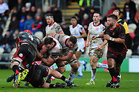 Pictured: Clive Ross of Ulster is tackled by Joseph Davies of Dragons during the Guinness Pro14 Round 17 match between the Dragons and Ulster Rugby at Rodney Parade, Newport, Wales, UK.<br /> Sunday 03 March 2019