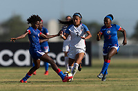 Bradenton, FL - Sunday, June 10, 2018: Angeline Gustave, Samantha Meza, Nancy Lindor prior to a U-17 Women's Championship match between the United States and Haiti at IMG Academy.  USA defeated Haiti 3-2 to advance to the finals.