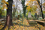 Prague cemetery on a cold fall day.