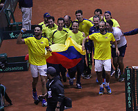 BOGOTÁ - COLOMBIA, 02-02-2019:Juan Sebastián Cabal  y Robert Farah tenistas de Colombia celebran al vencer a Eriksson Markus y Lindstedt  Robert tenistas  de Suecia durante el primer encuentro por los Qualifiers de la Copa Davis por BNP Paribas buscando un cupo para las finales en Madrid jugado en la cancha del Palacio de los Deportes./Juan Sebastián Cabal and Robert Farah tennis players from Colombiacelebrate their victory against of Eriksson Markus and Lindstedt Robert tennis players from Sweden during the Davis Cup Qualifiers firts match by BNP Paribas looking for a place for the finals in Madrid played in the Palace of Sports court. Photo: VizzorImage / Felipe Caicedo / Staff.