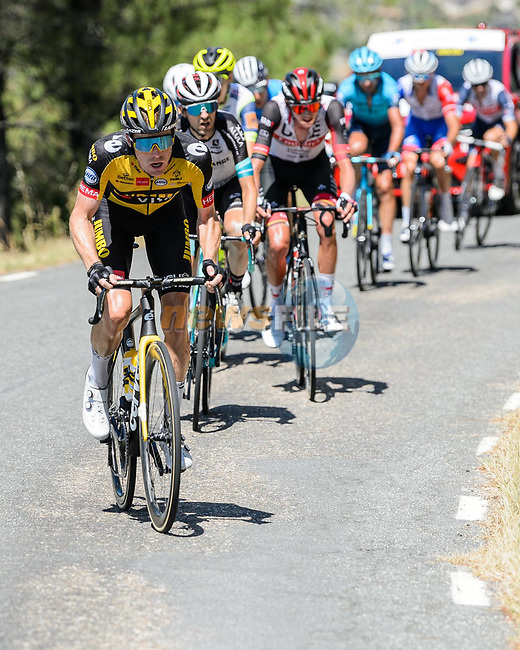 Steven Kruijswijk (NED) Jumbo-Visma attacks from the breakaway on the final climb of Stage 15 of La Vuelta d'Espana 2021, running 197.5km from Navalmoral de la Mata to El Barraco, Spain. 29th August 2021.    <br /> Picture: Cxcling   Cyclefile<br /> <br /> All photos usage must carry mandatory copyright credit (© Cyclefile   Cxcling)
