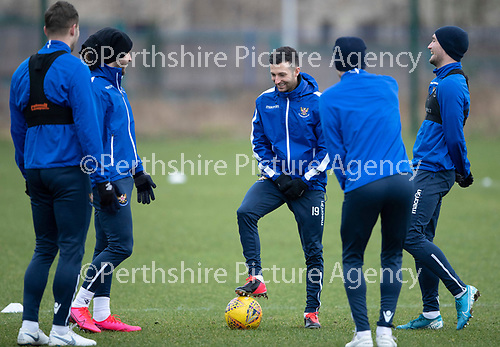 St Johnstone Training…….14.02.20<br />Jason Holt pictured during this morning's training session at McDiarmid Park with Anthony Ralston, Stevie May, Chris Kane and Daid Wotherspoon ahead of tomorrows game against Ross County.<br />Picture by Graeme Hart.<br />Copyright Perthshire Picture Agency<br />Tel: 01738 623350  Mobile: 07990 594431
