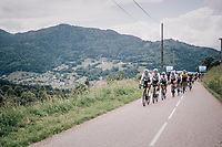 Luke Rowe (GBR/SKY) leading the peloton<br /> <br /> Stage 5: Grenoble > Valmorel (130km)<br /> 70th Critérium du Dauphiné 2018 (2.UWT)