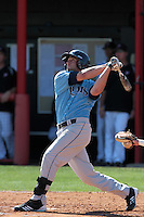 Greg Annarummo #23 of the Rhode Island Rams bats against the Cal State Northridge Matadors at Matador Field on March 14, 2012 in Northridge,California. Rhode Island defeated Cal State Northridge 10-8.(Larry Goren/Four Seam Images)