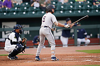 Brett Wisely (5) of the Charleston RiverDogs in a game against the Columbia Fireflies on Tuesday, May 11, 2021, at Segra Park in Columbia, South Carolina. The catcher is Omar Hernandez (6). (Tom Priddy/Four Seam Images)