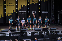 Team Bora-Hansgrohe at the pre Tour teams presentation of the 108th Tour de France 2021 in Brest at le Grand Départ.