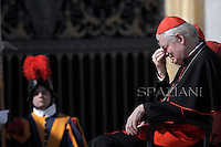 Cardinal Angelo Scola,Pope Benedict XVI during his weekly general audience in St. Peter square at the Vatican, Wednesday. 10 October, 2012
