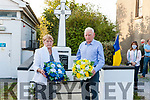 Niece and nephew of Jeremiah Healy & Patrick Harnett , Kathleen Leahy & John O' Connor lay wreaths at the Monument in Abbeyfeale for the Healy - Harnett Centenary Commemoration. .