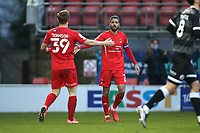 Jobi McAnuff of Leyton Orient celebrates after Orient equalise through an own goal during Leyton Orient vs Crawley Town, Sky Bet EFL League 2 Football at The Breyer Group Stadium on 19th December 2020
