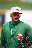 Fort Wayne TinCaps outfielder Franchy Cordero (22) during pratcie before a game against the Lake County Captains on May 20, 2015 at Classic Park in Eastlake, Ohio.  Lake County defeated Fort Wayne 4-3.  (Mike Janes/Four Seam Images)