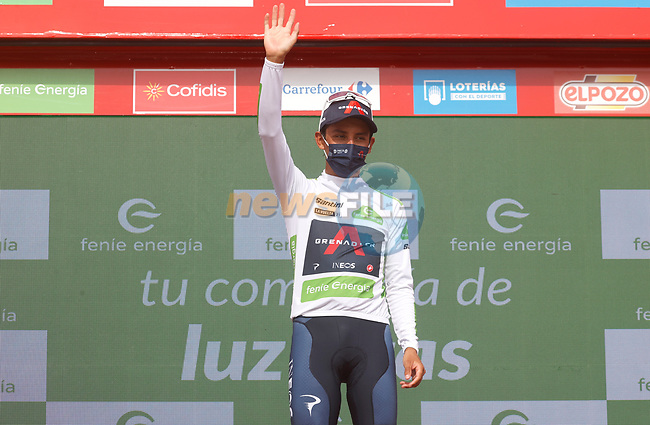 Egan Bernal (COL) Ineos Grenadiers retains the young riders White Jersey at the end of Stage 9 of La Vuelta d'Espana 2021, running 188km from Puerto Lumbreras to Alto de Velefique, Spain. 22nd August 2021.     <br /> Picture: Luis Angel Gomez/Photogomezsport | Cyclefile<br /> <br /> All photos usage must carry mandatory copyright credit (© Cyclefile | Luis Angel Gomez/Photogomezsport)