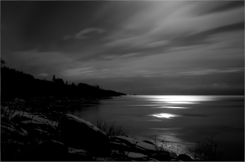 Full moon over Lake Superior at CutFace Creek near Grand Marais Minnesota
