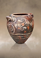 Luxury Minoan Kamares Ware storage pot with handles and polychrome floral decorations , Phaistos 1900-1700 BC; Heraklion Archaeological  Museum.<br /> <br /> This style of pottery is named afetr Kamares cave where this style of pottery was first found