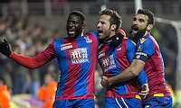 Yohan Cabaye (centre) of Crystal Palace celebrates his goal with Bakary Sako (left) of Crystal Palace & Mile Jedinak of Crystal Palace  during the FA Cup quarter-final match between Reading and Crystal Palace at the Madejski Stadium, Reading, England on 11 March 2016. Photo by Andy Rowland/PRiME Media Images.