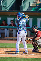 Brandon Lewis (47) of the Ogden Raptors at bat against the Idaho Falls Chukars at Lindquist Field on August 9, 2019 in Ogden, Utah. The Raptors defeated the Chukars 8-3. (Stephen Smith/Four Seam Images)