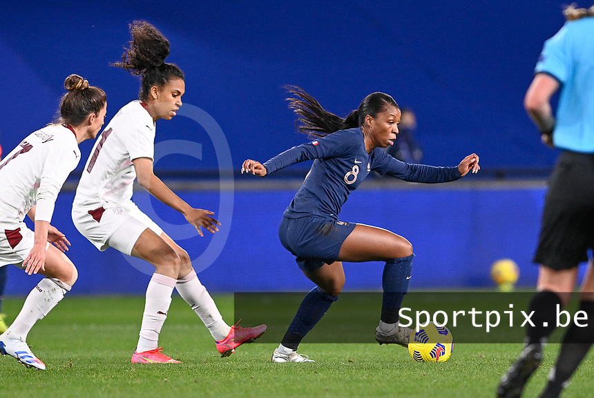 French Grace Geyoro (8) pictured in action in front of Swiss Coumba Sow (11) during the Womens International Friendly game between France and Switzerland at Stade Saint-Symphorien in Longeville-lès-Metz, France.