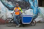 Milano febbraio 2016 via vigevano, Diego trasportatore di  vino in bicicletta. <br /> Diego wine carrier in bicycle