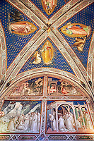 Frescoes of the Sacristy depicting the life of Saint Benedict dating from 1387 and commissioned by Benedetto degli Alberti  .San Miniato al Monte (St. Minias on the Mountain) basilica , Florence, Italy.