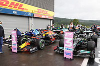 28th August 2021; Spa Francorchamps, Stavelot, Belgium: FIA F1 Grand Prix of Belgium, qualifying sessions;   pole position for Max Verstappen NEL 33 , Red Bull Racing Honda, 2 grid position for George Russel GBR 63 , Williams Racing, 3 grid position for Lewis Hamilton GBR 44 , Mercedes AMG Petronas Formula One Team