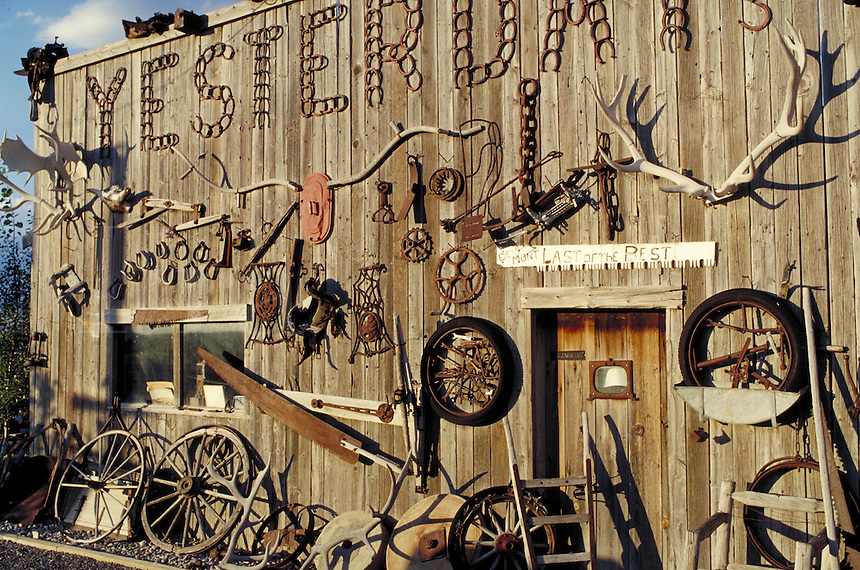 Yesterdays, wooden store front with wagon wheels and antlers in Idaho near the Utah border. Idaho USA.