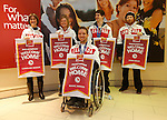 Ottawa, ON - March 28 2014- Ottawa's Sochi Paralympians after receiving their CIBC Welcome Home banners – back row: Caroline Bisson (para-Nordic skiing and biathlon), Margarita Gorbounova (para-Nordic skiing and biathlon), bronze medallist Ben Delaney (sledge hockey), John Leslie (para-snowboard). Front: Bronze medallist Marc Dorion (sledge hockey)(Photo: Patrick Doyle/CIBC)