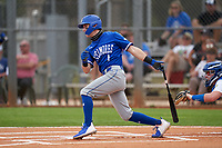 Indiana State Sycamores Jordan Schaffer (1) bats during the teams opening game of the season against the Pitt Panthers on February 19, 2021 at North Charlotte Regional Park in Port Charlotte, Florida.  (Mike Janes/Four Seam Images)