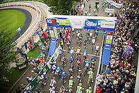 stage start at the Epsom Downs Racecourse<br /> <br /> 2013 Tour of Britain<br /> stage 7: Epsom to Guilford (155km)