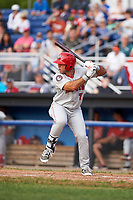 Auburn Doubledays first baseman Conner Simonetti (7) at bat during a game against the Batavia Muckdogs on June 19, 2017 at Dwyer Stadium in Batavia, New York.  Batavia defeated Auburn 8-2 in both teams opening game of the season.  (Mike Janes/Four Seam Images)